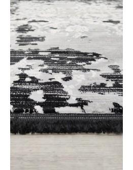 Siyah-Beyaz Dekoratif Modern Desenli Akrilik Halı