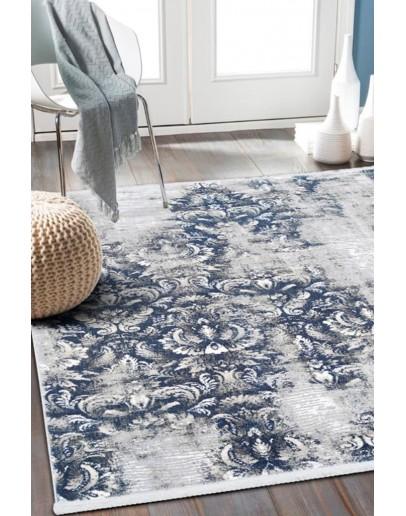 Mavi Çiçek Desenli Modern Akrilik Halı