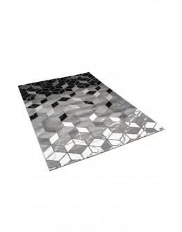 Siyah Geometrik ve Pixel Desenli Modern Halı