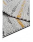 Sarı Koyu Gri Çizgi Desenli Yumuşak Dokulu Modern Halı