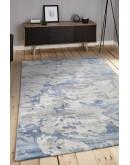 Açık Mavi Kamuflaj Desenli Yumuşak Dokulu Modern Halı