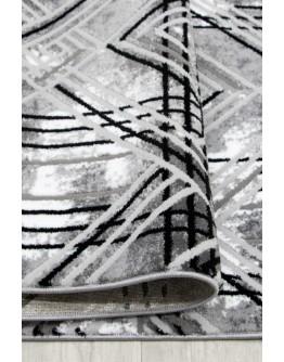 Gri Geometrik Desenli Yumuşak Dokulu Halı
