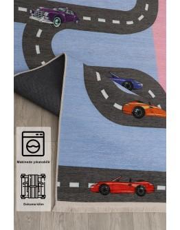 Çocuk Odası Yol Araba Sek Sek Oyun Desenli  Kilim
