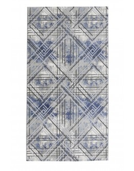 Mavi Geometrik Desenli Yumuşak Dokulu Halı