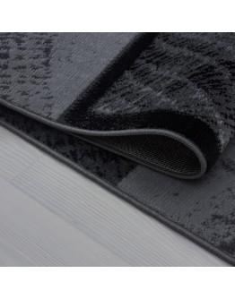 Kare Desenli Siyah Gri Modern Halı