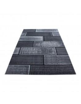 Modern Dikdörtgen Kare Desenli Siyah Halı