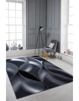 Silindirik Dalga Desenli Siyah Modern Halı