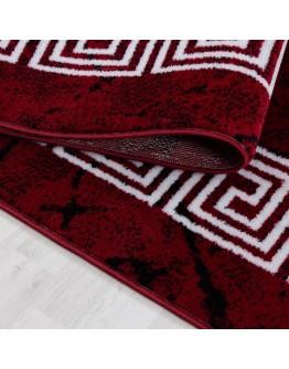Modern Desenli  Ornament Bordür Bordo Beyaz Halı Mermer Görünümlü