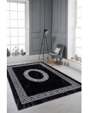 Modern Desenli Siyah Beyaz Bordürlü  Halı