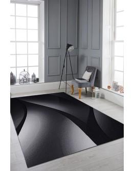 Geometrik Dalga Desenli Modern Siyah Halı