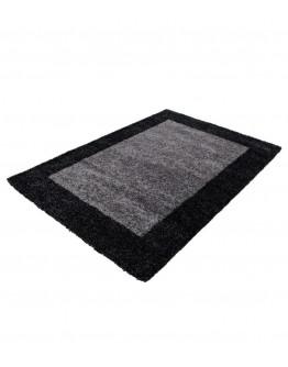 Shaggy Halı 30 mm Hav yüksekliği Kareli Desen Siyah Gri Beyaz